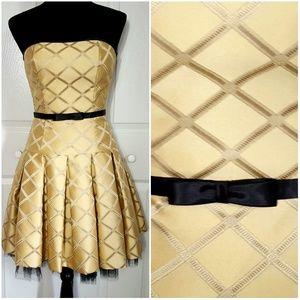 Jessica McClintock Gold Strapless Fit Flare Dress